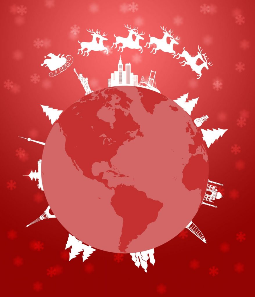 Santa Sleigh and Reindeer Flying Around the World Globe Red Background Illustration